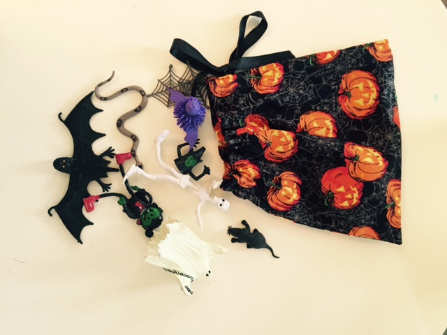 Halloween items in the mystery bag
