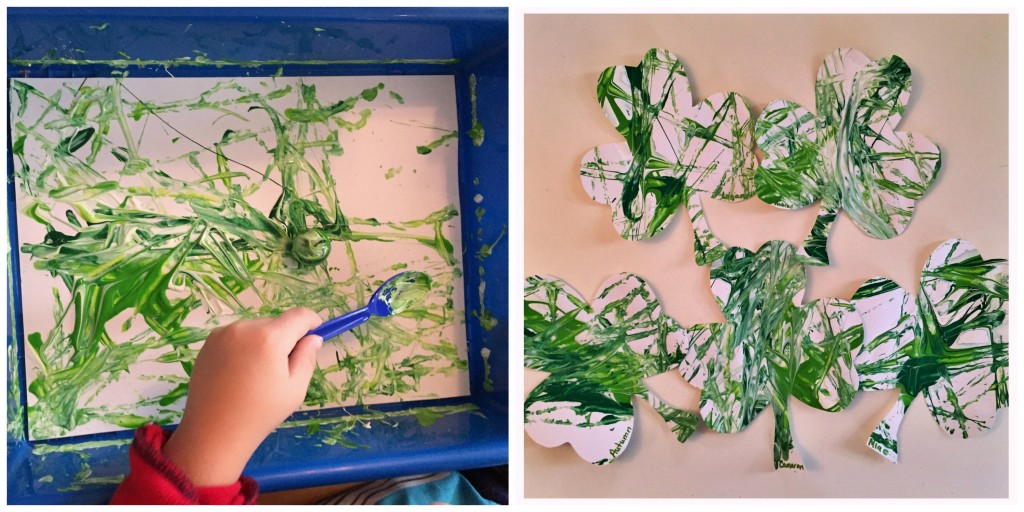 Art in the Preschool Classroom, Marble Painting Shamrocks for St. Patrick's Day