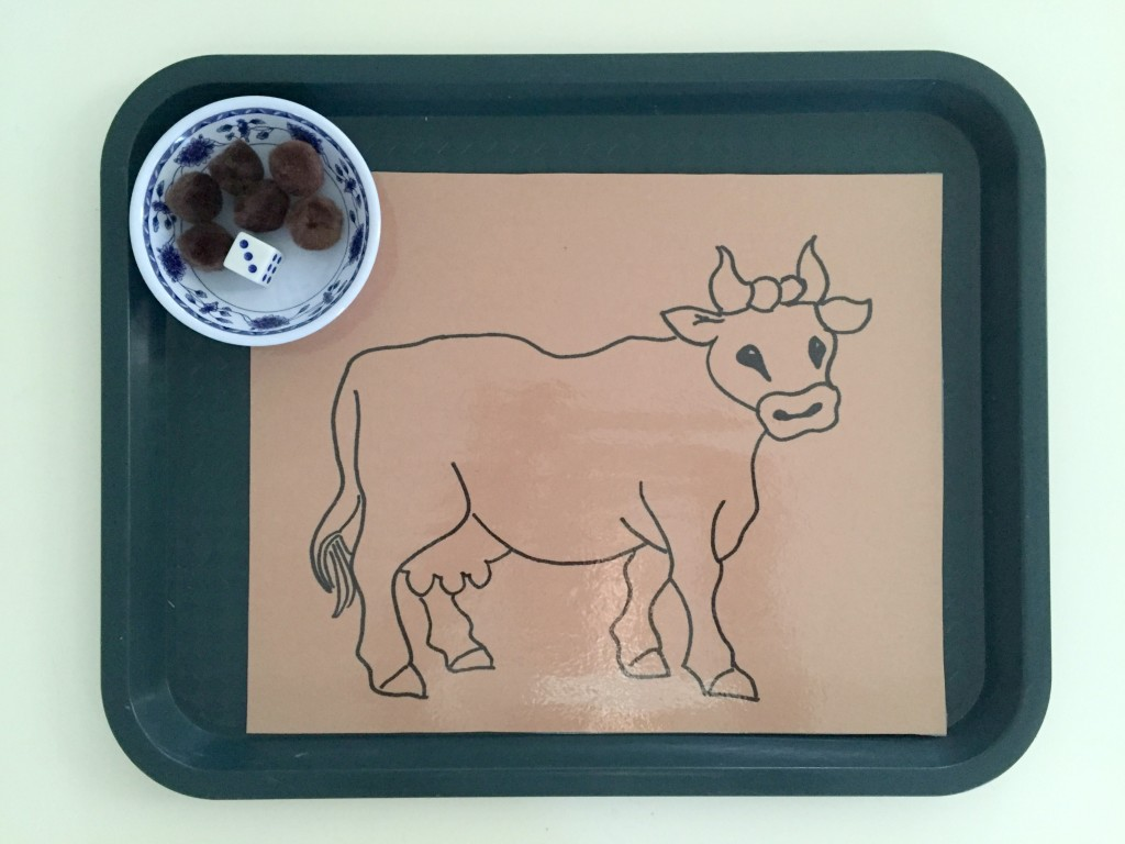 Farm Animal Activities in the Preschool Classroom - Roll the dice and add the spots to the cow