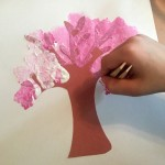 Sponge Painting Cherry Blossoms