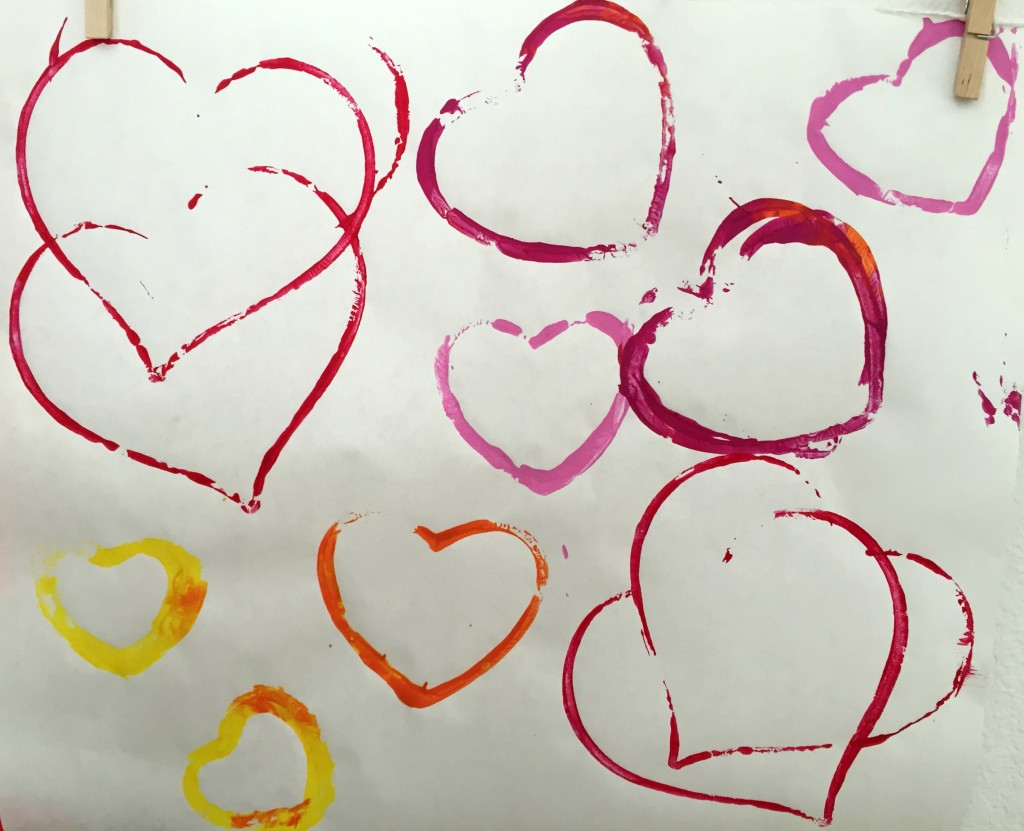 Valentine Art-Stamping Hearts with Cookie Cutters