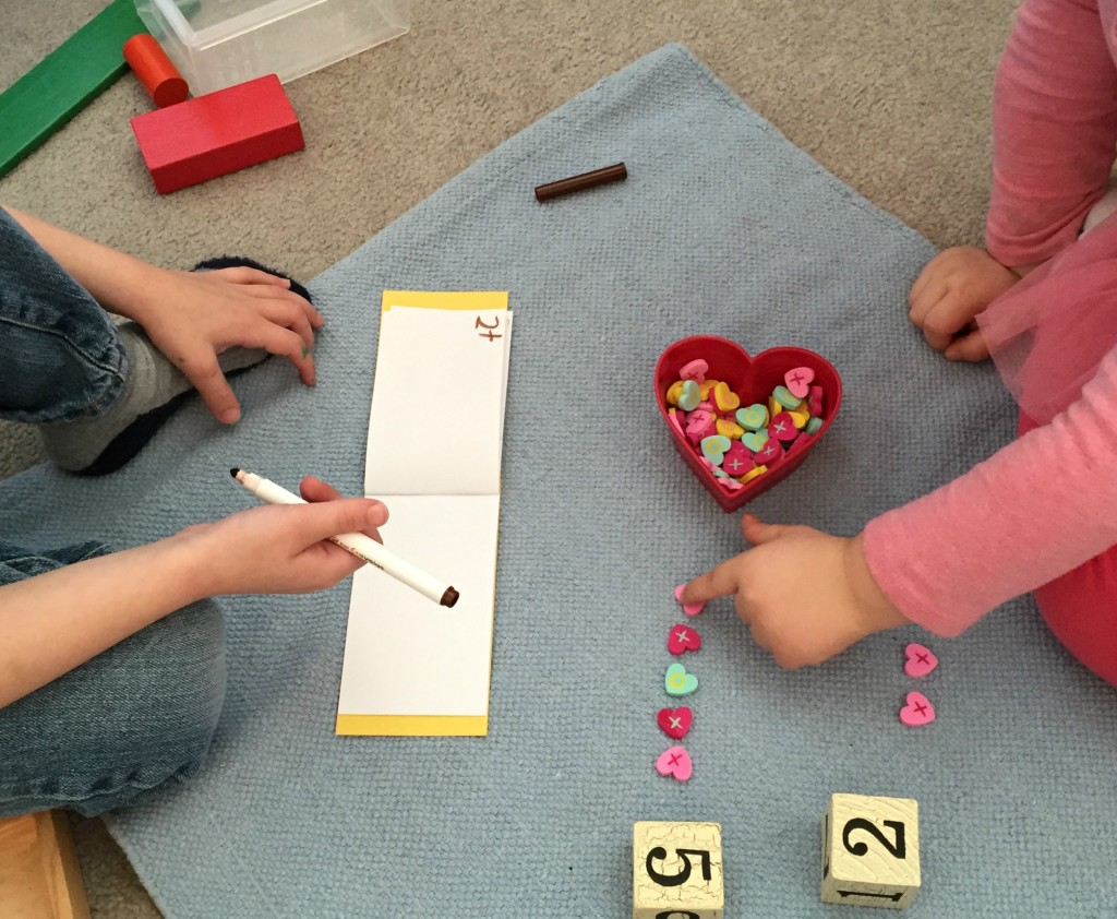 Valentine Math - Counting and adding with hearts