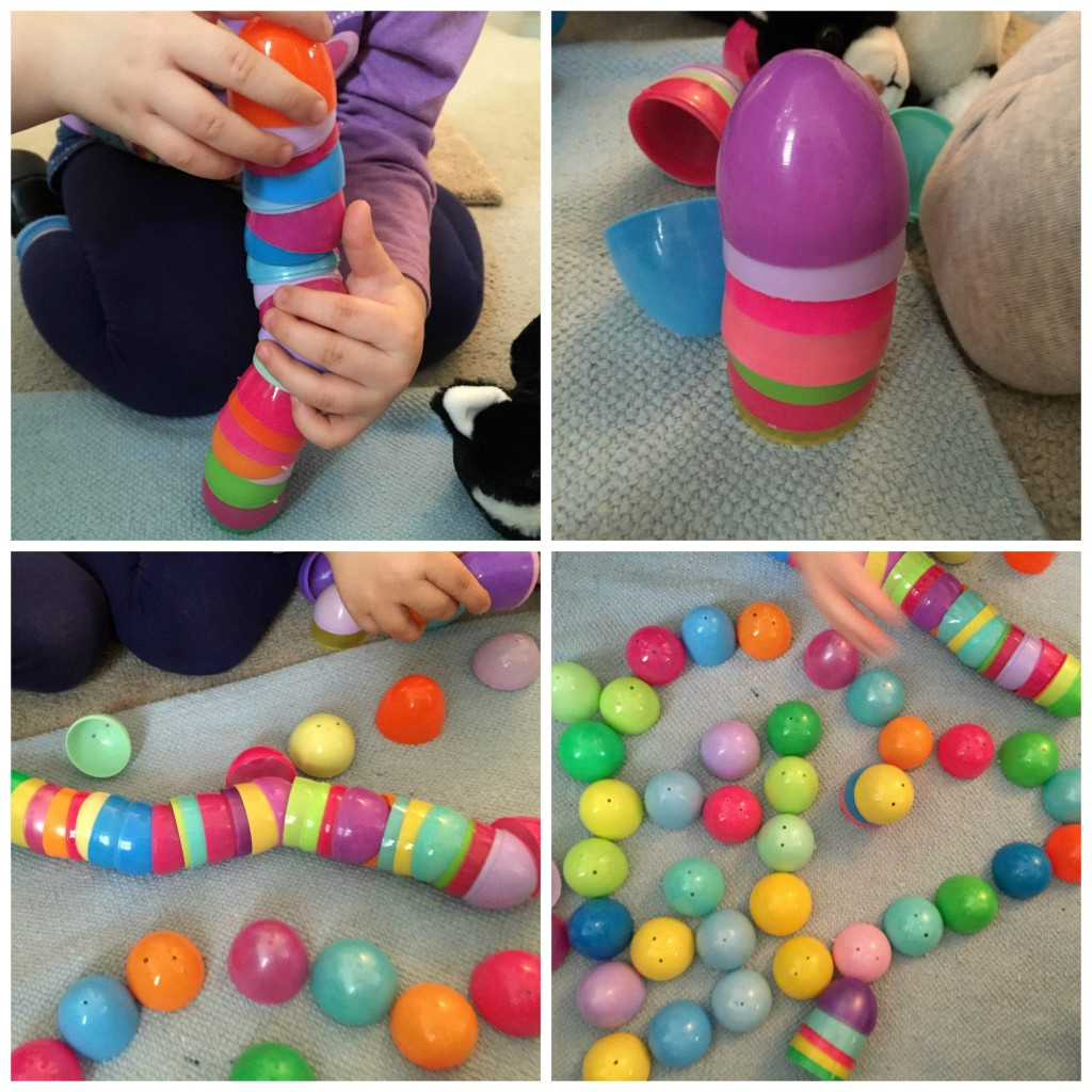 Easter Fun in the Preschool Classroom - Free Play with plastic eggs