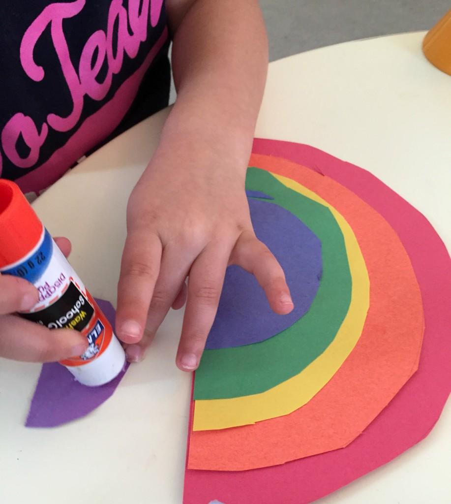St. Patrick's Day in the Preschool Classroom - Cutting and Gluing Rainbows