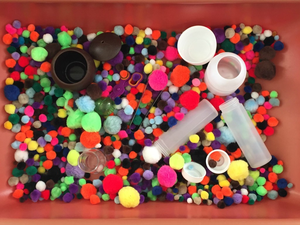 Pom Poms in the Sensory Bin