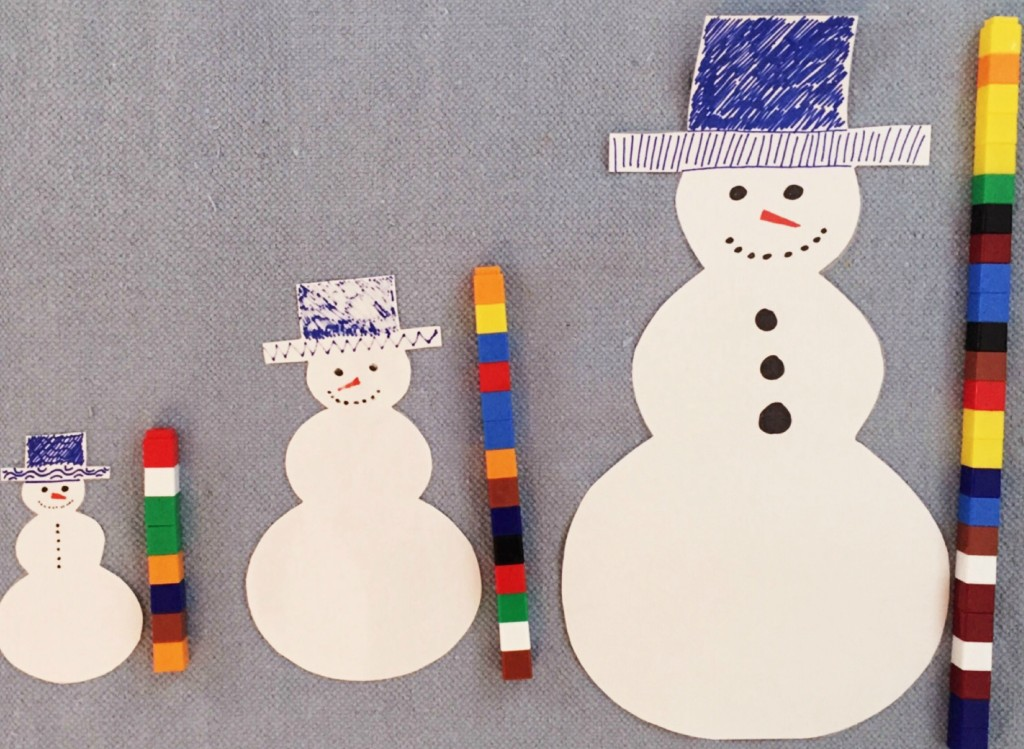 Measuring Snowman with Unifix Cubes