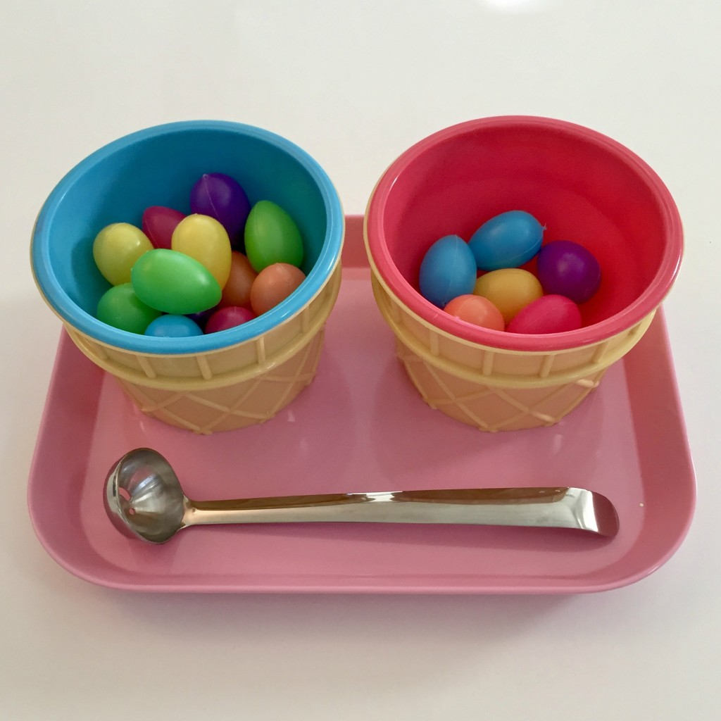 Spooning Small Easter Eggs - Easter Shelf Activities