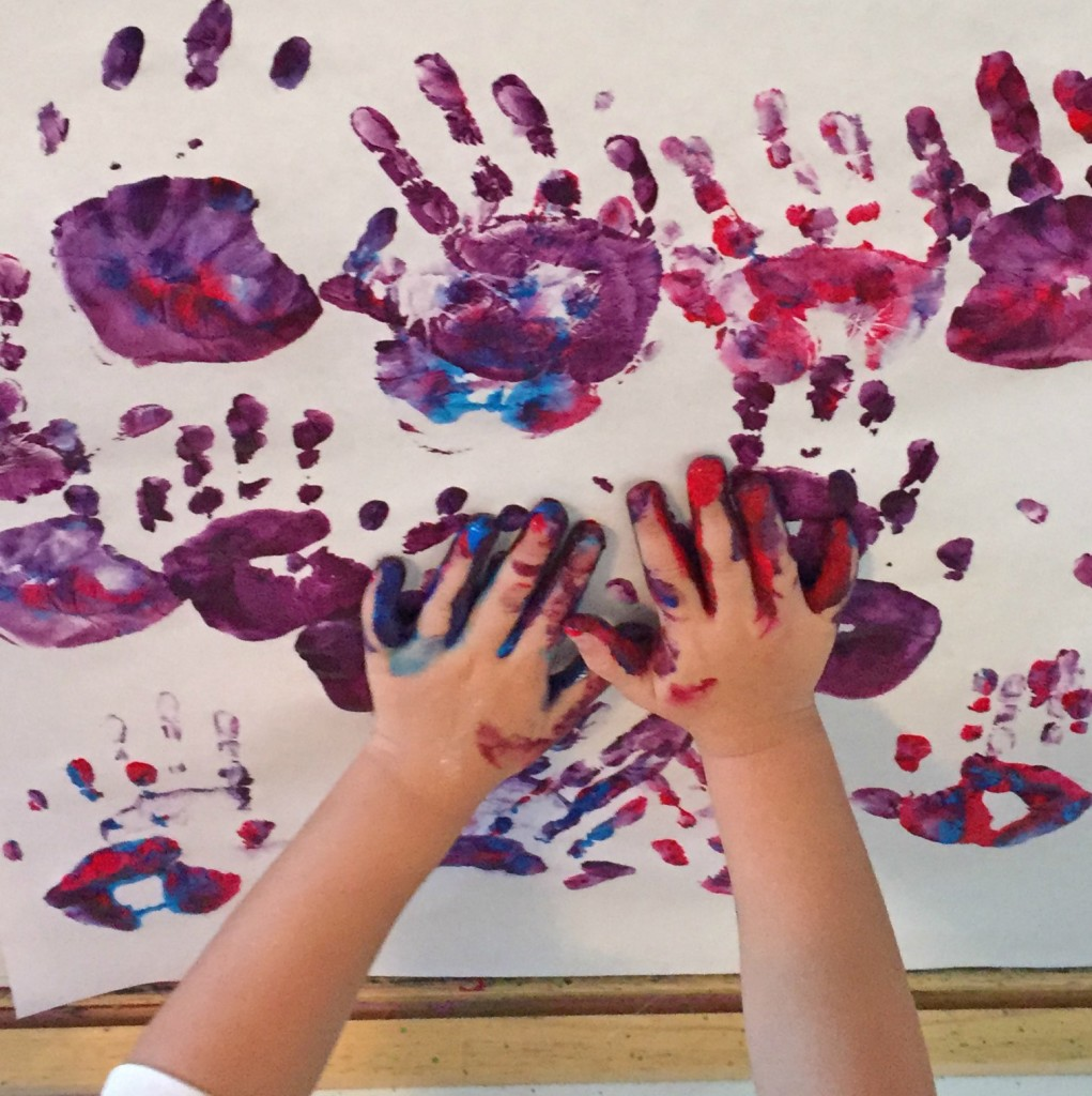 Easel Work - Handprints and Finger Painting