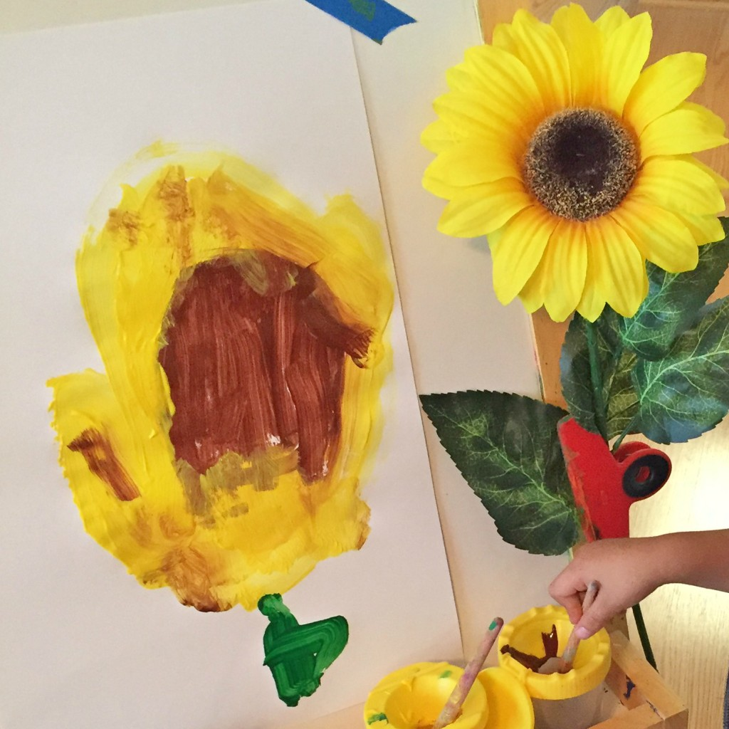 Easel Work - Painting Sunflowers